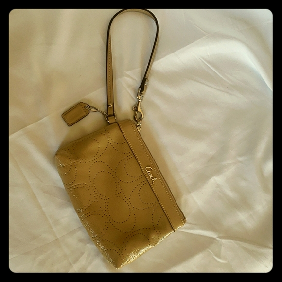 Coach Taupe Patent Leather Wristlet